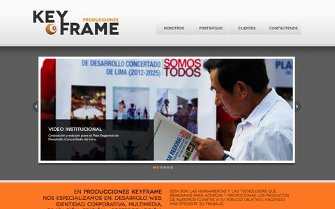 Screenshot of Home Page producciones-keyframe.com - Producciones Keyframe | Nos especializamos en diseño gráfico/web y comunicación en Perú - captured Sept. 30, 2014