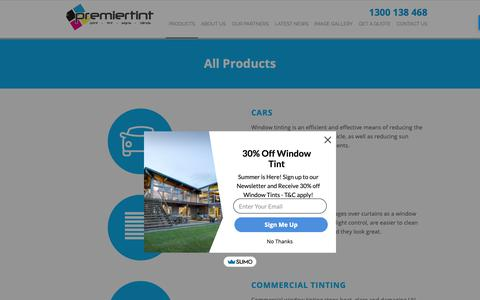 Screenshot of Products Page premiertint.com.au - View Our Range of Window Film Products | Premier Tint - captured Sept. 29, 2018
