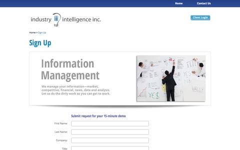 Screenshot of Signup Page industryintel.com - Industry Intelligence: Information Management Signup - captured Oct. 6, 2014
