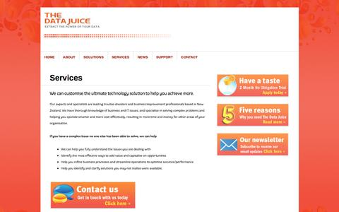 Screenshot of Services Page thedatajuice.com - Services   The Data Juice - captured Nov. 19, 2016