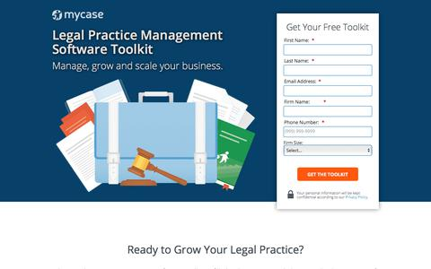 Screenshot of Landing Page mycase.com - Legal Practice Management Software Toolkit - captured March 13, 2018