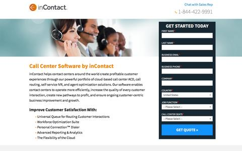 Screenshot of Landing Page incontact.com - inContact - Cloud Contact Center Software - captured Nov. 2, 2016