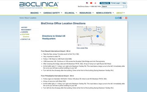 Screenshot of Maps & Directions Page bioclinica.com - Directions to BioClinica Office Locations - captured Oct. 10, 2014