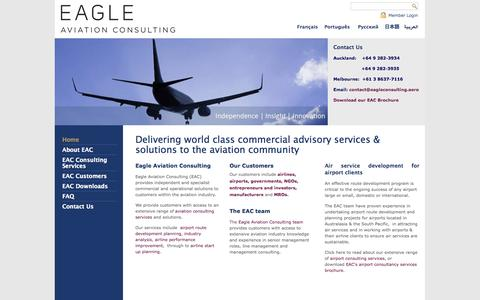 Screenshot of Home Page eagleconsulting.aero - Aviation Consulting services for Airports and Airlines - captured Oct. 1, 2014