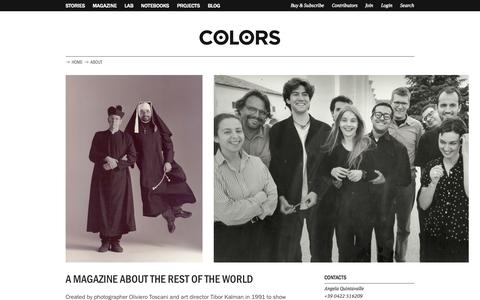 Screenshot of About Page colorsmagazine.com - About | COLORS Magazine - captured Sept. 19, 2014