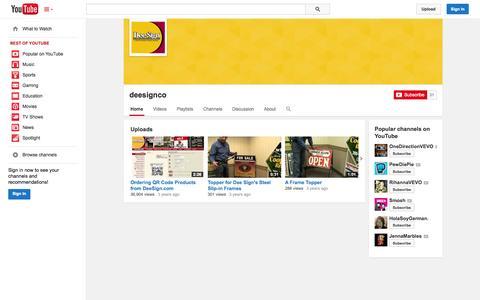 Screenshot of YouTube Page youtube.com - deesignco  - YouTube - captured Oct. 23, 2014