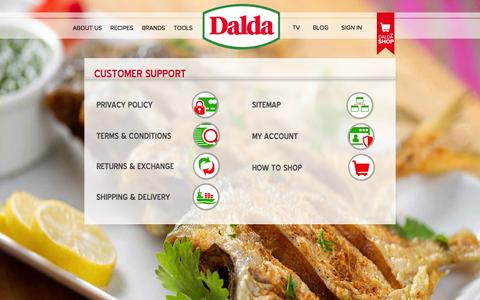 Screenshot of Support Page daldafoods.com - Customer Support | - captured Sept. 23, 2014