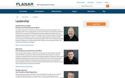 Screenshot of Team Page planar.com - Leadership | Planar - captured Sept. 19, 2014