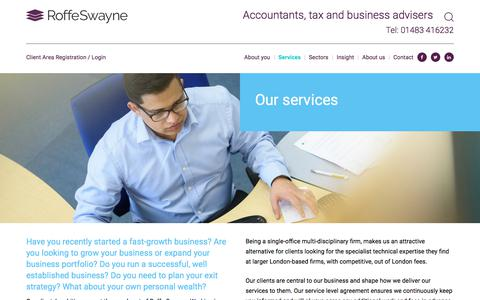 Screenshot of Services Page roffeswayne.com - Services at Roffe Swayne chartered accountants for all business types - captured Sept. 21, 2018
