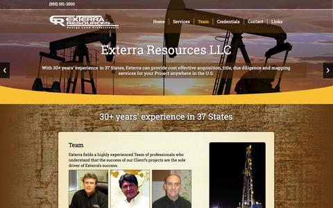 Screenshot of Team Page exterraresources.com - Team   - captured Oct. 3, 2014