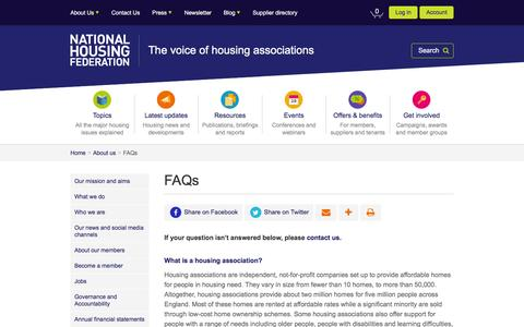 Screenshot of FAQ Page housing.org.uk - FAQs   About us   National Housing Federation - captured Oct. 27, 2016