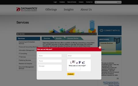 Screenshot of Services Page datamatics.com - Services – IT Services, IT Consulting, Engineering & Embedded Services - captured Oct. 10, 2014