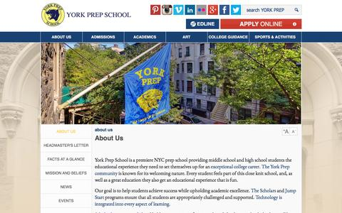 Screenshot of About Page yorkprep.org - About York Prep  | York Prep - captured Aug. 11, 2016