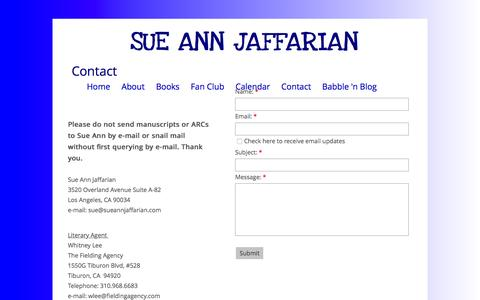 Screenshot of Contact Page sueannjaffarian.com - Contact - captured March 12, 2016
