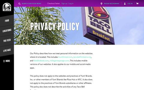Privacy Policy - Taco Bell
