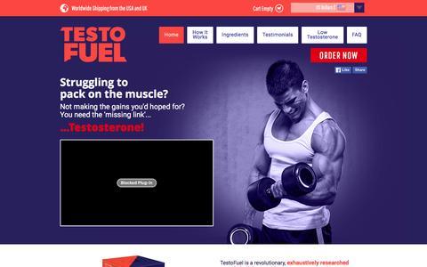 Screenshot of Home Page testofuel.com - Testosterone Booster | Bodybuilding supplement | Testo Fuel - captured Jan. 23, 2016