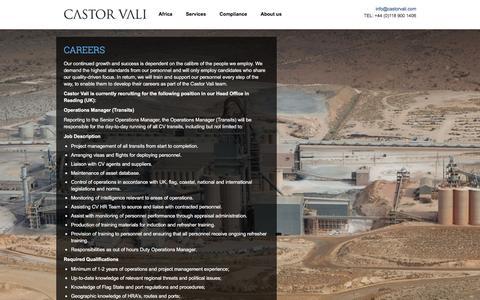 Screenshot of Jobs Page castorvali.com - Careers | Castor Vali - Global Risk Management - captured Dec. 7, 2015