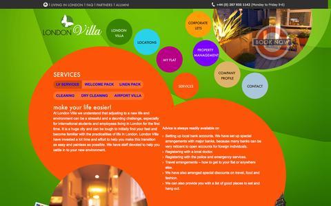 Screenshot of Services Page londonvilla.co.uk - SERVICES | LONDON VILLA - captured Sept. 30, 2014