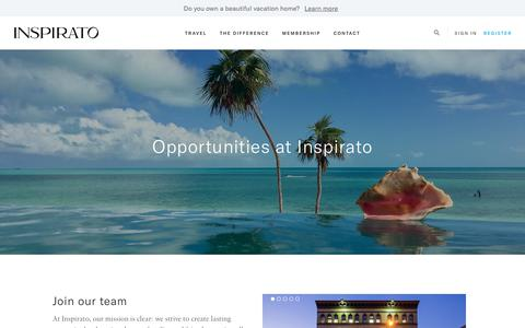Screenshot of Jobs Page inspirato.com - Careers | Inspirato - captured April 22, 2018