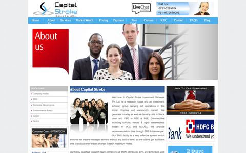 Screenshot of About Page capitalstroke.com - Capital Stroke - Equities and Commodity Market Advisory Firm - captured Oct. 1, 2014