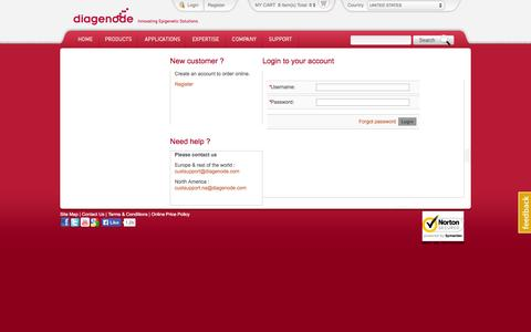 Screenshot of Login Page diagenode.com - Diagenode > Login - captured Sept. 25, 2014