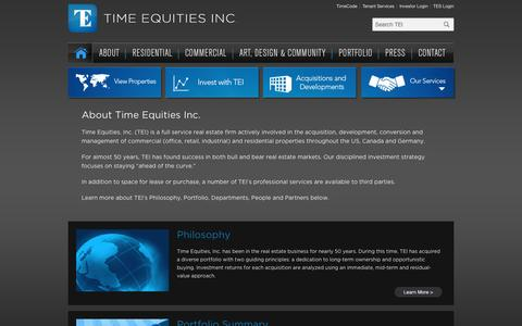Screenshot of About Page tei-investor.com - About - Time Equities Inc. - captured March 29, 2016