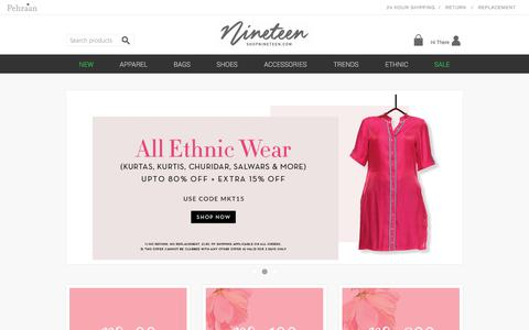 Screenshot of Home Page shopnineteen.com - Shop Online Women Clothing, Buy Shoes, Bags & Jewelry for Girls at Shopnineteen - captured June 21, 2017