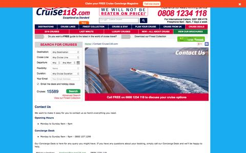 Screenshot of Support Page cruise118.com - Contact Us   Cruise118.com - captured Dec. 6, 2015