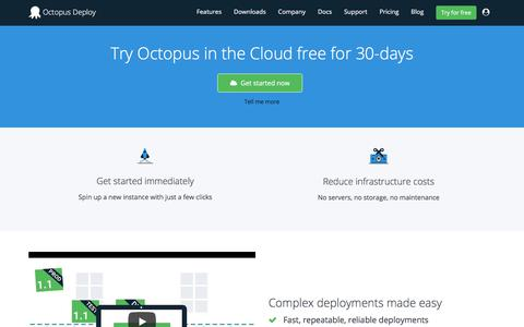 Screenshot of Trial Page octopus.com - Free 30 Day Trial - Octopus Deploy - captured Sept. 22, 2018
