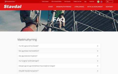 Screenshot of FAQ Page stavdal.se - Frågor och svar | Stavdal AB - captured Oct. 18, 2018