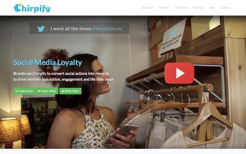 Screenshot of Home Page chirpify.com - Social Media Loyalty Platform - captured Sept. 11, 2015