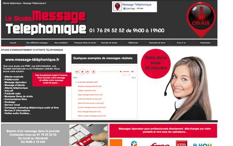 Screenshot of Home Page message-telephonique.fr - Attente musicale téléphonique, message répondeur téléphonique professionnel, pré-décroché - captured Nov. 26, 2016