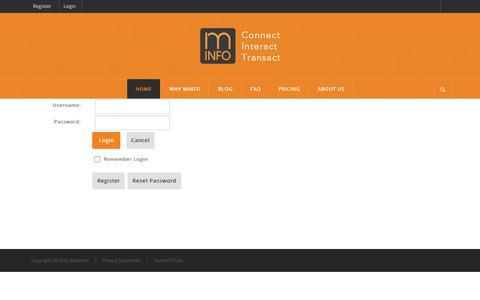 Screenshot of Login Page minfo.com - User Log In - captured Sept. 20, 2018