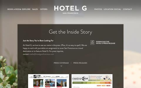 Screenshot of Press Page hotelgsanfrancisco.com - News, Press Releases, and Press Kits | Hotel G - captured Sept. 30, 2014