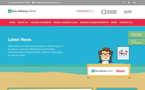Screenshot of Press Page yourholidayclaims.co.uk - Latest Holiday Claims News, Outbreaks & Industry Updates | YHC - captured Oct. 18, 2017