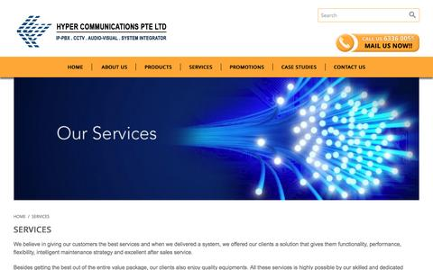 Screenshot of Services Page hypercom.sg - Services - captured Feb. 2, 2016