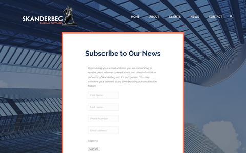 Screenshot of Signup Page skanderbegcapital.com - Join the Skanderbeg List - Skanderbeg Capital - captured Oct. 19, 2018