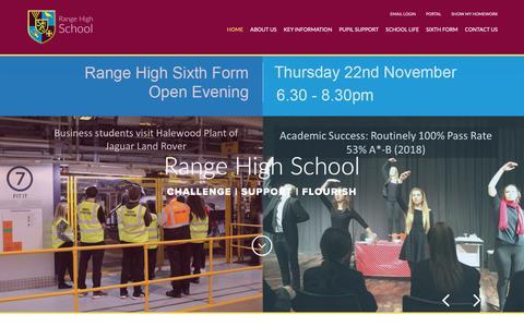 Screenshot of Home Page range.sefton.sch.uk - Range High - Range High School - captured Oct. 29, 2018