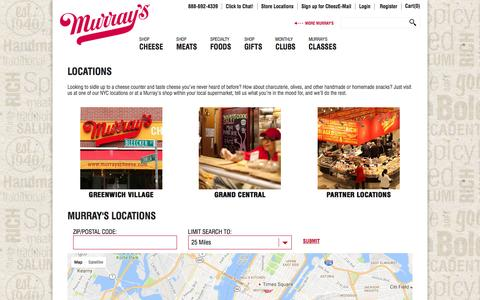 Screenshot of Locations Page murrayscheese.com captured Aug. 28, 2016