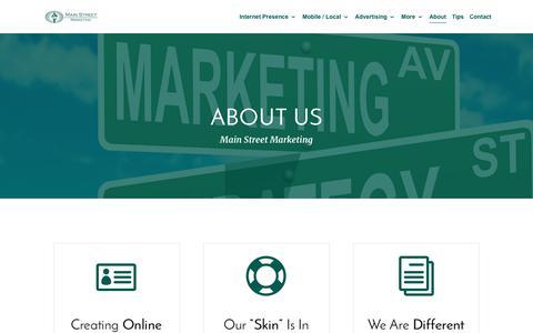 Screenshot of About Page main-street-marketing.com - About Man Street Marketing | Marketing for Small Businesses | Northern Kentucky / Cincinnati - captured July 27, 2018