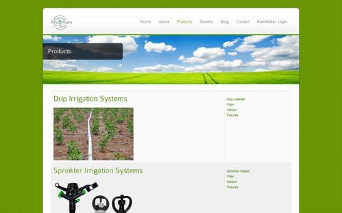 Screenshot of Products Page myrainindia.com - Products - MyRainIndia - captured Oct. 7, 2014