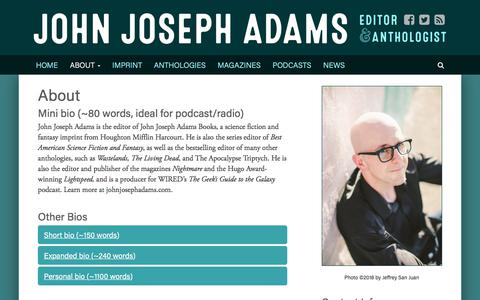 Screenshot of About Page johnjosephadams.com - About - John Joseph Adams - captured July 3, 2018
