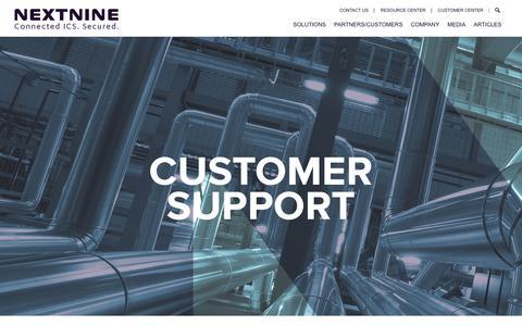 Screenshot of Support Page nextnine.com - Customer Support   Nextnine - captured May 9, 2017