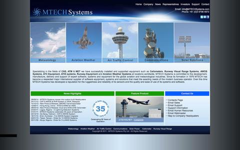 Screenshot of Home Page mtechsystems.com - MTECH Systems : Ceilometers : Transmissometers : AWOS : LLWAS : RVR - captured Oct. 4, 2014