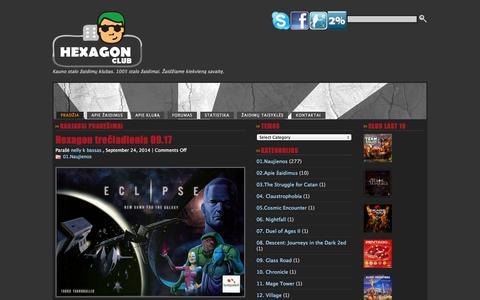 Screenshot of Home Page hexagon.lt - HEXAGON - captured Sept. 25, 2014