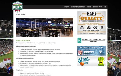 Screenshot of Locations Page dickssportinggoodspark.com - Locations - Dick's Sporting Goods Park - captured Nov. 2, 2014