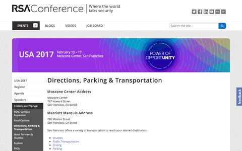 Screenshot of Maps & Directions Page rsaconference.com - Directions, Parking & Transportation - Cybersecurity Conference - US 2017 | RSA Conference - captured Feb. 18, 2017