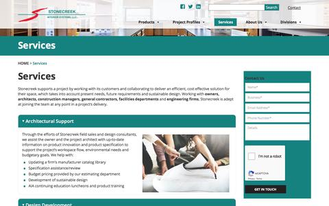Screenshot of Services Page stonecreek.cc - Services - Stonecreek Interior Systems - captured Sept. 24, 2018