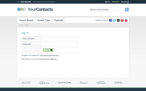 Screenshot of Login Page yourcontacts.com.au - Sign in - captured Oct. 20, 2018