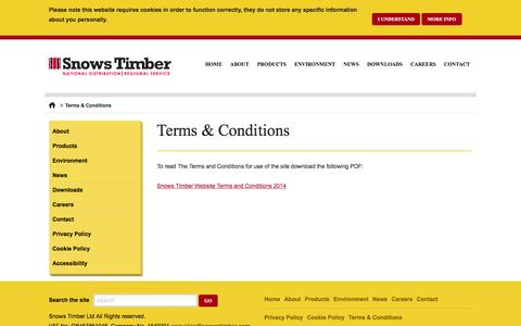 Screenshot of Terms Page snowstimber.com - Terms & Conditions - Snows Timber - Snows Timber - captured Jan. 24, 2016